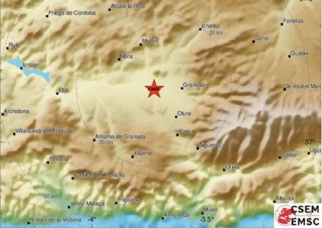 Samtliga skalv i skrivande stund är koncentrerade till ett området strax väster om Granada stad. Foto: EMSC