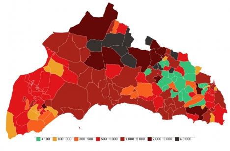 Smittfrekvensen i Alicanteprovinsen skilser sig stort, mellan kommuner som ligger under 100 fall per 100.000 invånare till flera som överstiger 3.000.