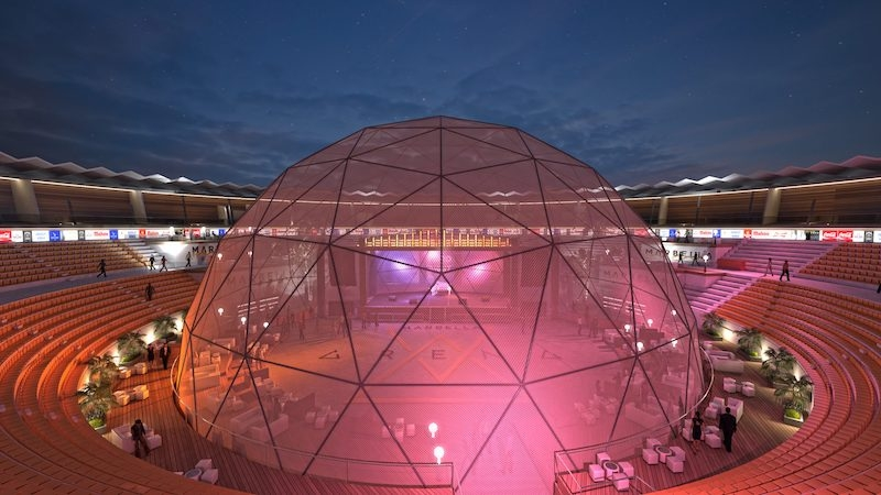 Tjurfäktningsarenan i Puerto Banús kommer att förses med en enorm kupol, för att från och med i 2021 kunna erbjuda evenemang året om. Foto: Marbella Arena