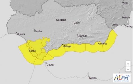 Gul varning för kraftig vind råder längs med Andalusiens kuster onsdag 31 mars. Därefter blåser dock