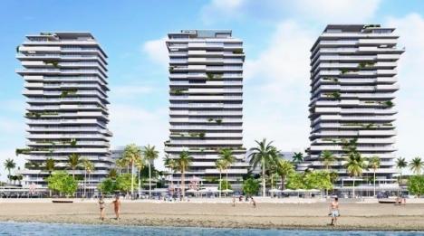 De tre tornen rymmer tillsammans mer än 200 lägenheter, med en storlek på upp till 400 kvadratmeter vardera. Foto: Metrovacesa