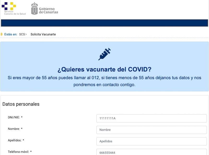 Samtliga invånare på Kanarieöarna kan nu ansöka om tid för vaccination via webben. Foto: Gobierno de Canarias