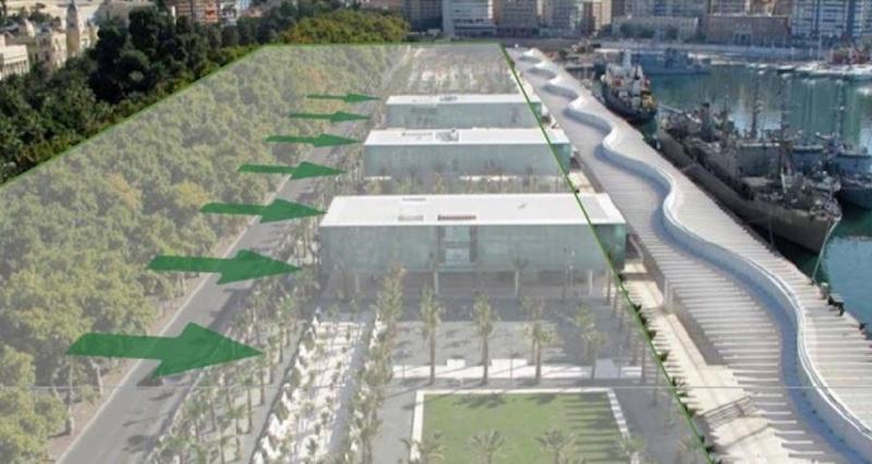 Trafiken som går mellan hamnen och gamla stan ska ledas ned under jord och lämna en bilfri zon på totalt 64.700 kvadratmeter. Foto: Ayuntamiento de Málaga