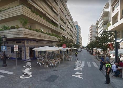 Det var gatuserveringarna på vänster sida på Avenida Miguel Cano som drabbades. Foto: Google Maps