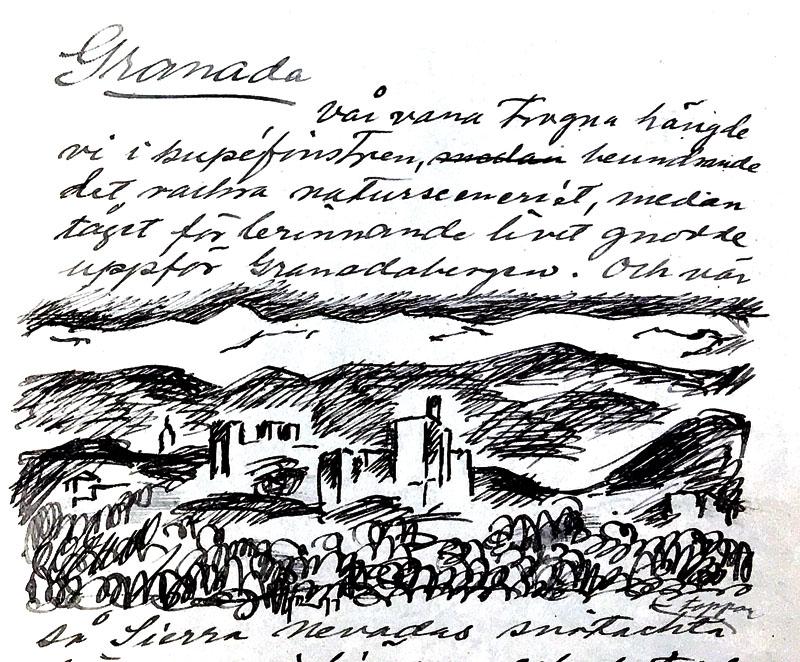 Kapitlet om Granada är det sista i Sigge Jernmarks resebok och beskriver hur han och Ninni Billing anländer till staden och hur Ninni insjuknar dagen efter att de besökt Gösta Sandels grav.