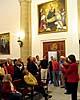 Finalgruppen fick besöka Rotas 700 år gamla fullmäktigesal med tavlor över kända kungligheter och Amerikaresande.